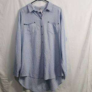 Free People blue microplaid button up shirt